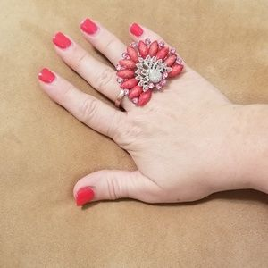 Peach abd gem peacock stretch band ring